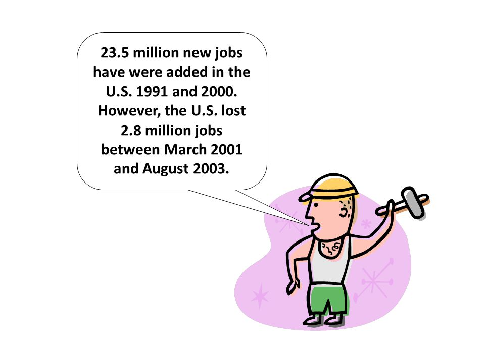 23.5 million new jobs have were added in the U.S. 1991 and 2000. However, the U.S. lost 2.8 million jobs between March 2001 and August 2003.