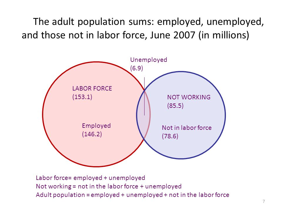 7 The adult population sums: employed, unemployed, and those not in labor force, June 2007 (in millions) LABOR FORCE (153.1) Employed (146.2) NOT WORK