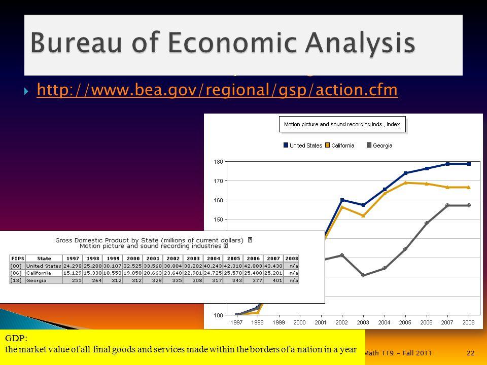  Bureau of Economic Analysis (bea.gov)bea.gov  http://www.bea.gov/regional/gsp/action.cfm http://www.bea.gov/regional/gsp/action.cfm Math 119 - Fall
