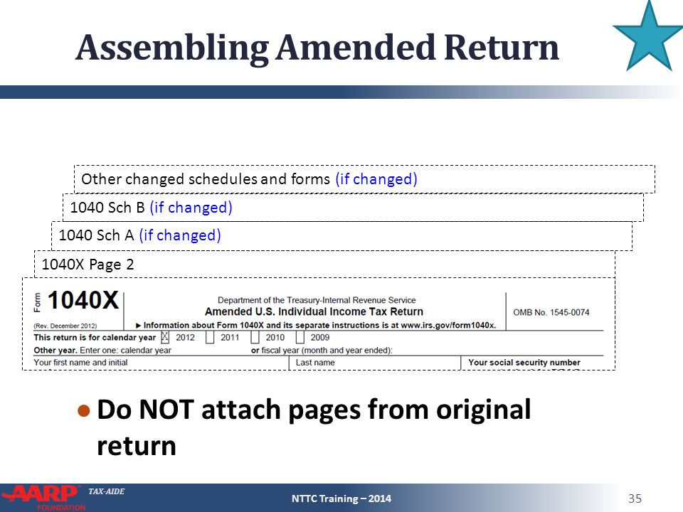 TAX-AIDE 1040 Sch B (if changed) 1040X Page 2 Assembling Amended Return ● Do NOT attach pages from original return NTTC Training – 2014 35 1040 Sch A (if changed) Other changed schedules and forms (if changed)