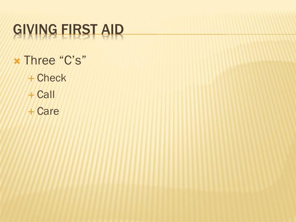""" Three """"C's""""  Check  Call  Care"""