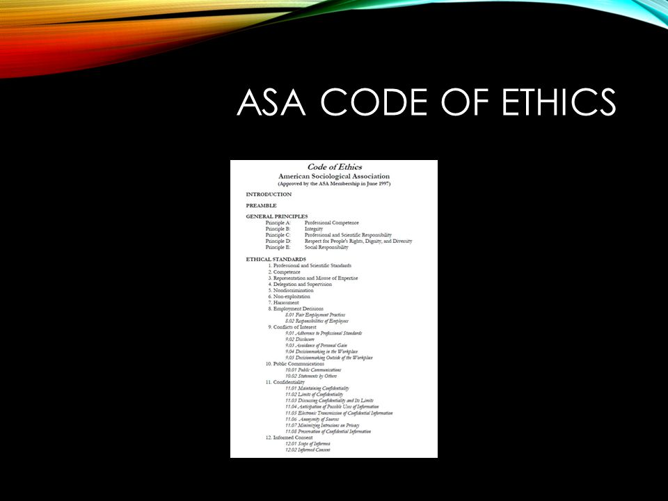 ASA CODE OF ETHICS