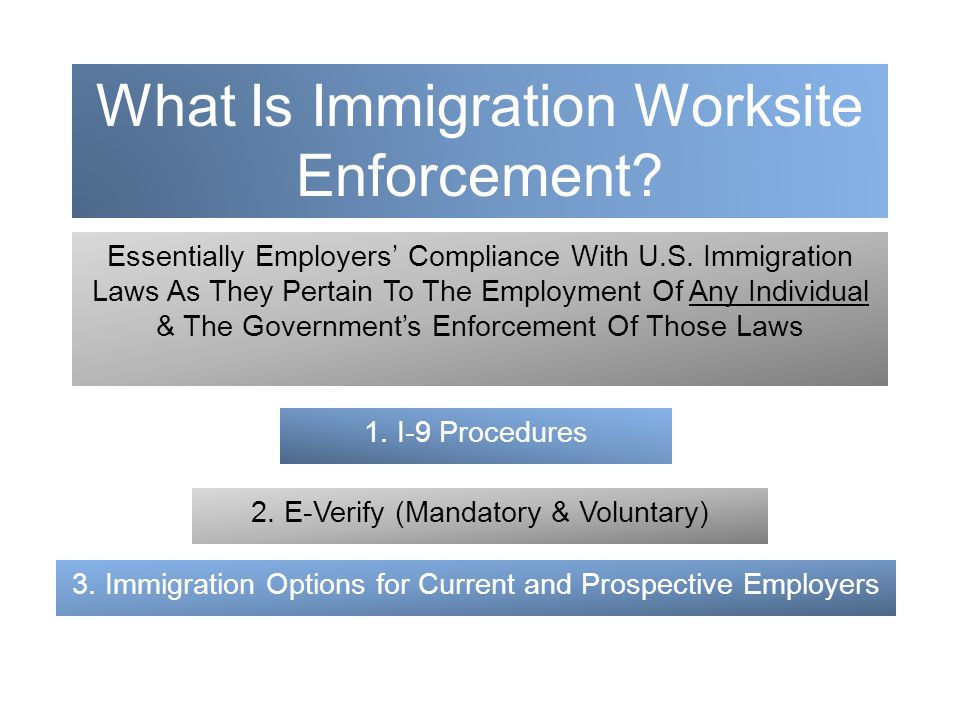 What Is Immigration Worksite Enforcement. Essentially Employers' Compliance With U.S.