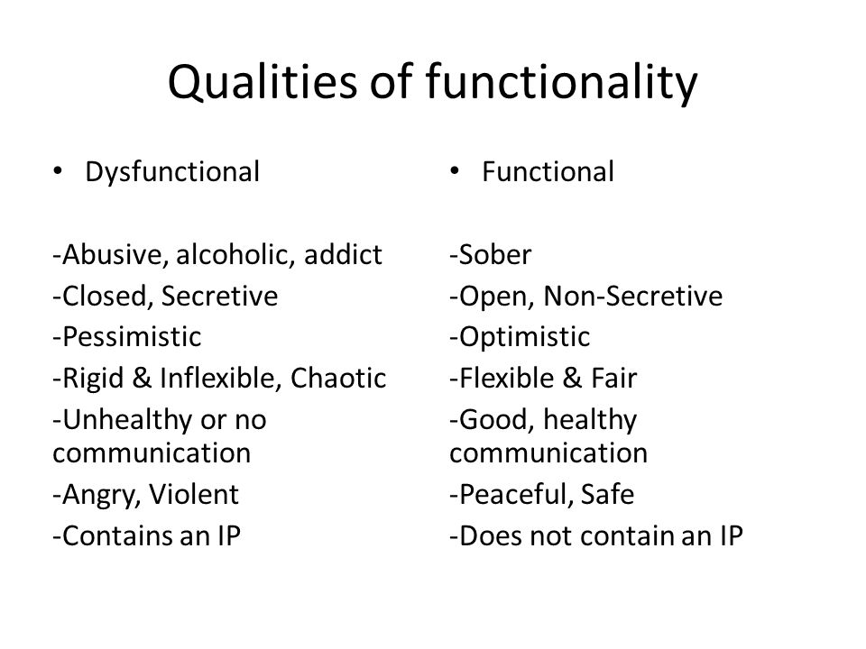 Qualities of functionality Dysfunctional -Abusive, alcoholic, addict -Closed, Secretive -Pessimistic -Rigid & Inflexible, Chaotic -Unhealthy or no communication -Angry, Violent -Contains an IP Functional -Sober -Open, Non-Secretive -Optimistic -Flexible & Fair -Good, healthy communication -Peaceful, Safe -Does not contain an IP