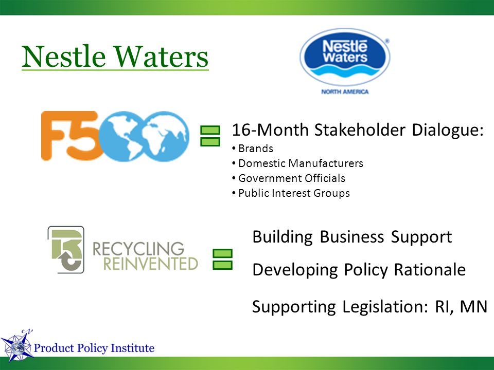16-Month Stakeholder Dialogue: Brands Domestic Manufacturers Government Officials Public Interest Groups Building Business Support Nestle Waters Developing Policy Rationale Supporting Legislation: RI, MN