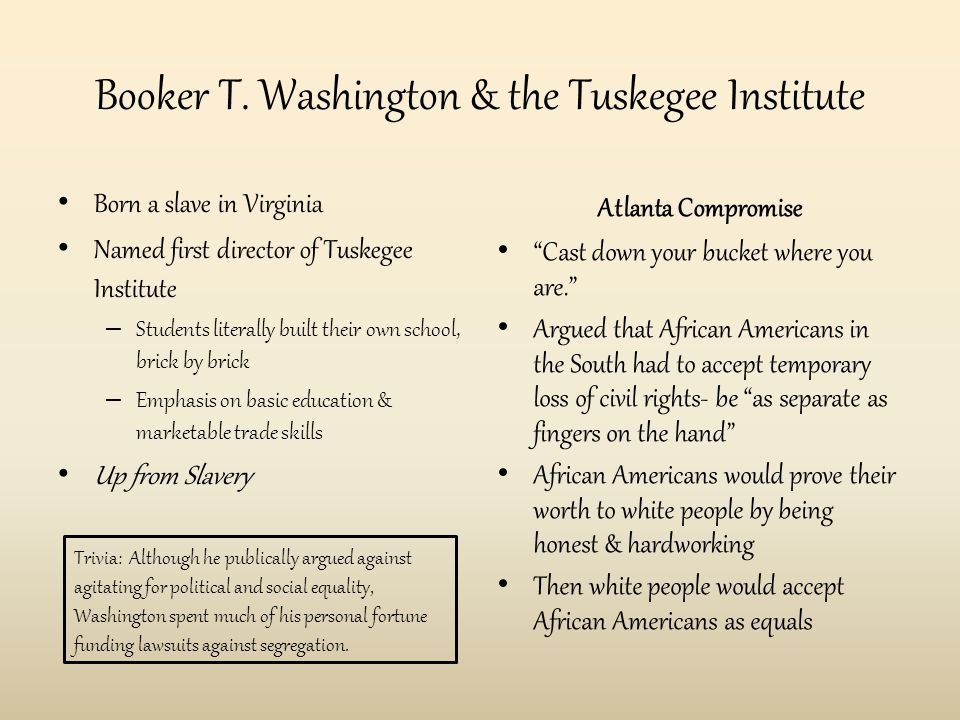 Booker T. Washington & the Tuskegee Institute Born a slave in Virginia Named first director of Tuskegee Institute – Students literally built their own
