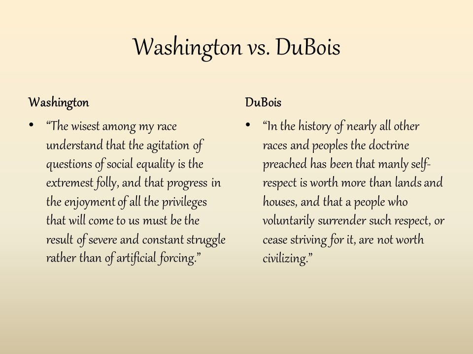 """Washington vs. DuBois Washington """"The wisest among my race understand that the agitation of questions of social equality is the extremest folly, and t"""