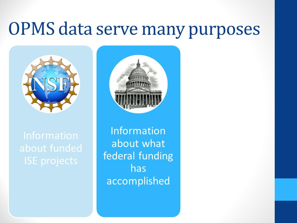 OPMS data serve many purposes Information about funded ISE projects Information about what federal funding has accomplished