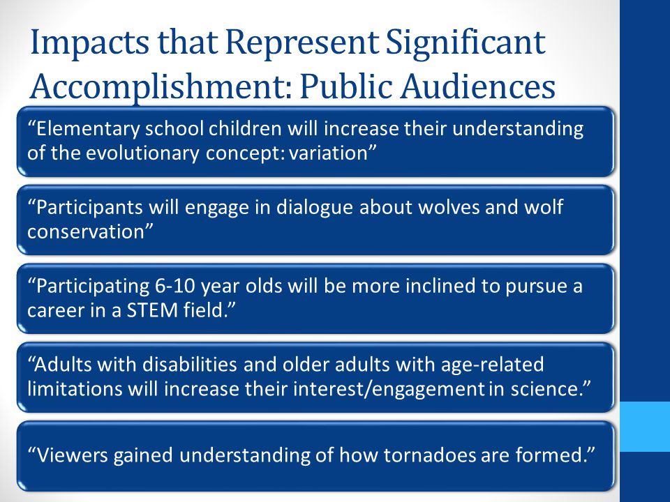 "Impacts that Represent Significant Accomplishment: Public Audiences ""Elementary school children will increase their understanding of the evolutionary"