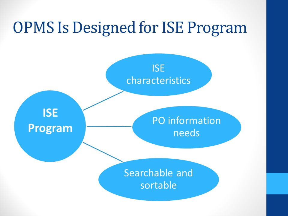 ISE characteristics PO information needs Searchable and sortable OPMS Is Designed for ISE Program ISE Program