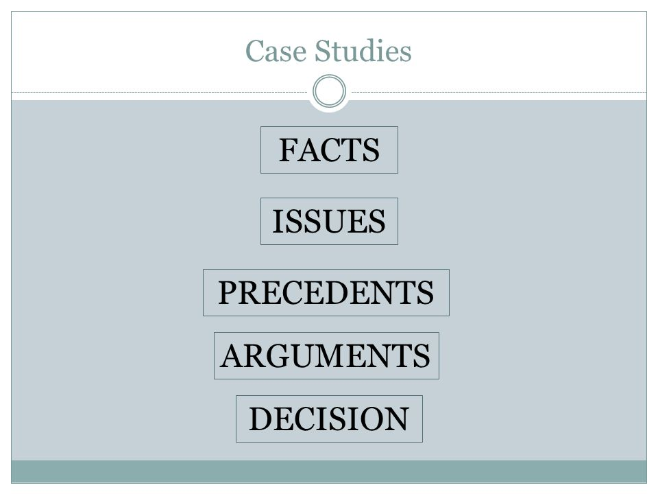 Case Studies PRECEDENTS ARGUMENTS ISSUES FACTS DECISION