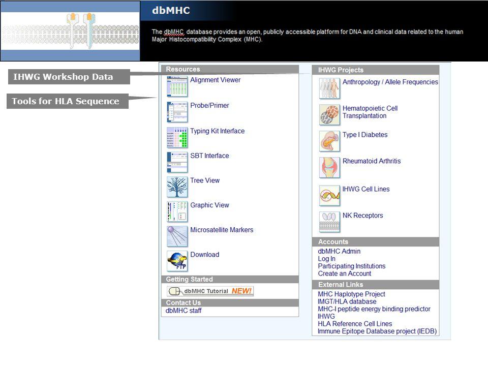 IHWG Workshop Data Tools for HLA Sequence