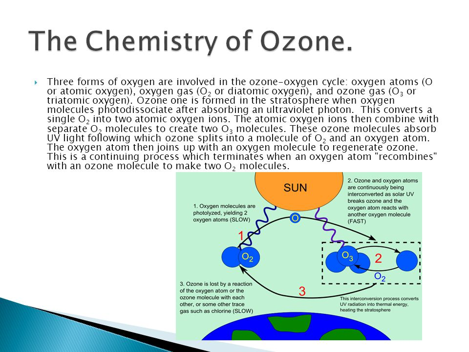  Three forms of oxygen are involved in the ozone-oxygen cycle: oxygen atoms (O or atomic oxygen), oxygen gas (O 2 or diatomic oxygen), and ozone gas (O 3 or triatomic oxygen).