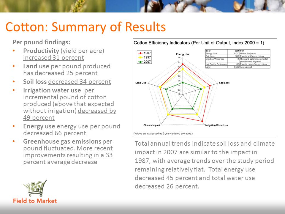 Cotton: Summary of Results Per pound findings: Productivity (yield per acre) increased 31 percent Land use per pound produced has decreased 25 percent
