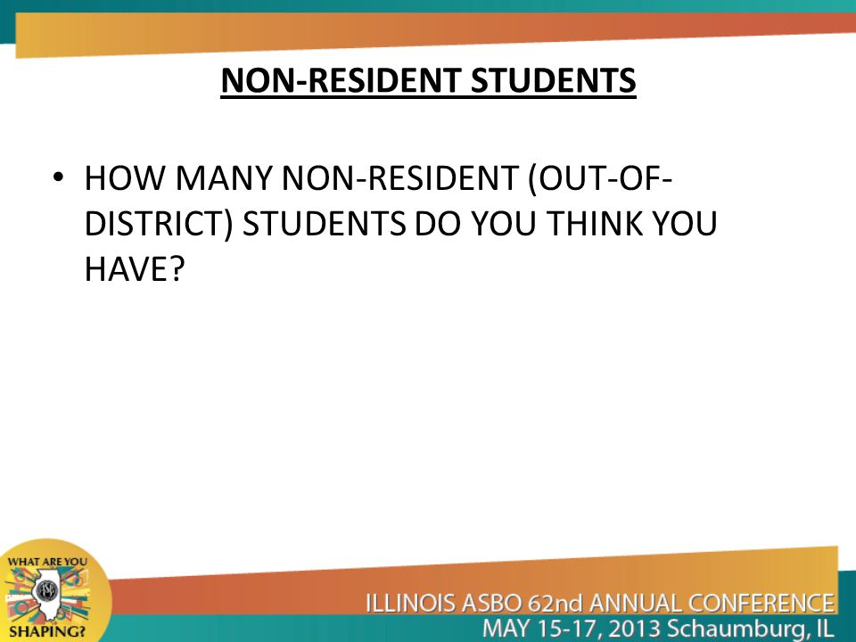 NON-RESIDENT STUDENTS HOW MANY NON-RESIDENT (OUT-OF- DISTRICT) STUDENTS DO YOU THINK YOU HAVE