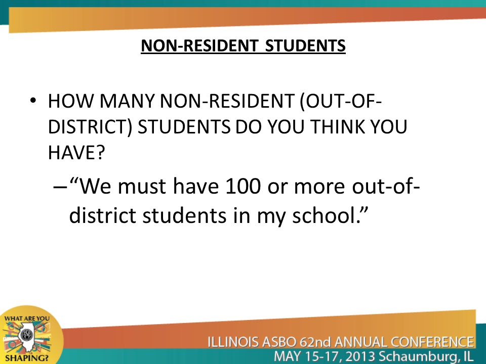 NON-RESIDENT STUDENTS HOW MANY NON-RESIDENT (OUT-OF- DISTRICT) STUDENTS DO YOU THINK YOU HAVE.