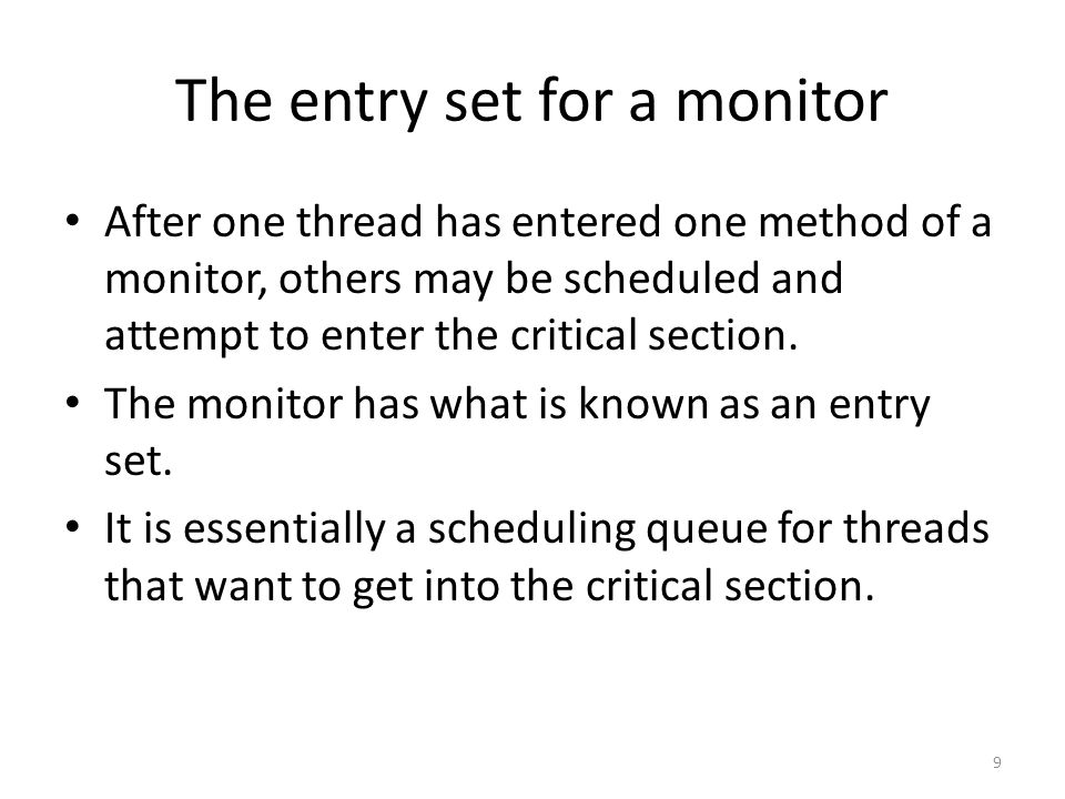 notifyAll() and the Readers-Writers Problem The book gives full code for this I will try to abstract their illustration without referring to the complete code Remember that a read lock is not exclusive – Multiple reading threads are OK at the same time – Only writers have to be blocked Write locks are exclusive – Any one writer blocks all other readers and writers 90