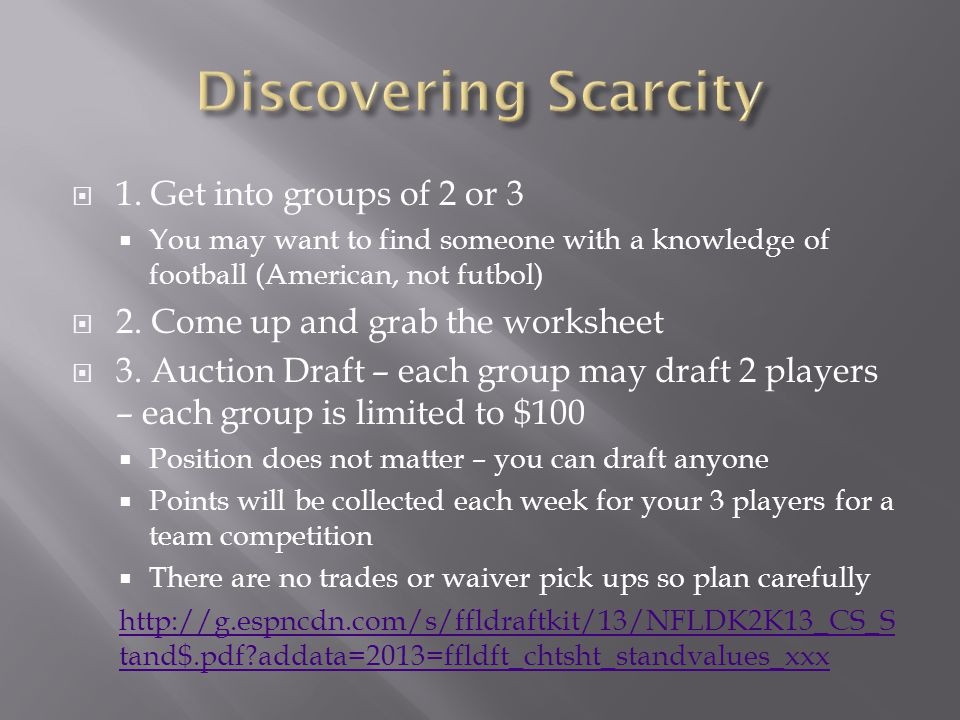  1. Get into groups of 2 or 3  You may want to find someone with a knowledge of football (American, not futbol)  2. Come up and grab the worksheet