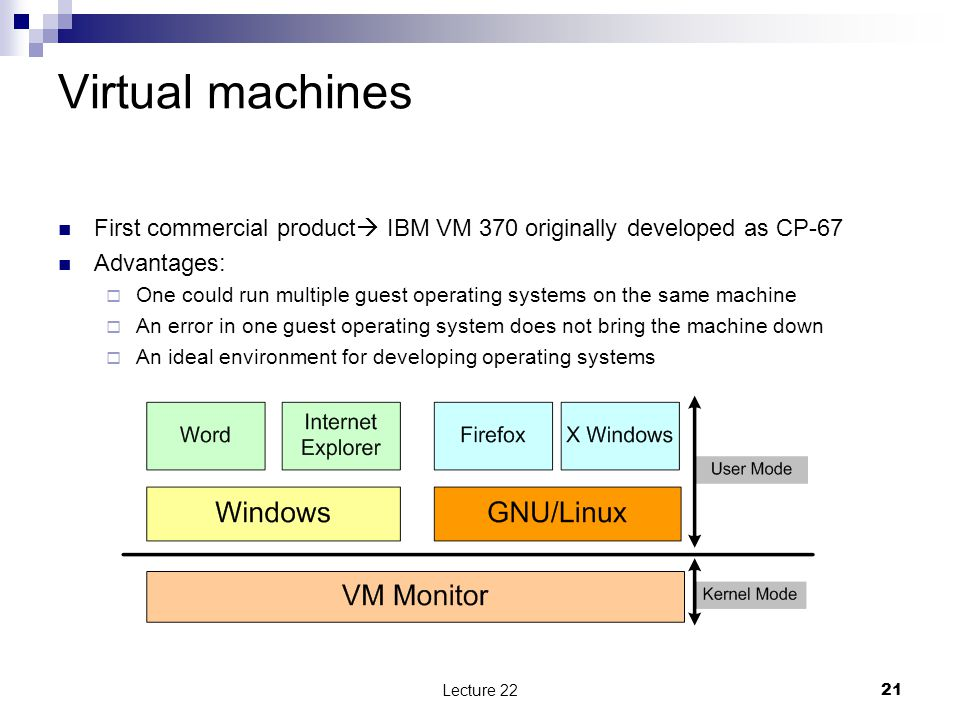 Virtual machines First commercial product  IBM VM 370 originally developed as CP-67 Advantages:  One could run multiple guest operating systems on the same machine  An error in one guest operating system does not bring the machine down  An ideal environment for developing operating systems 21Lecture 22
