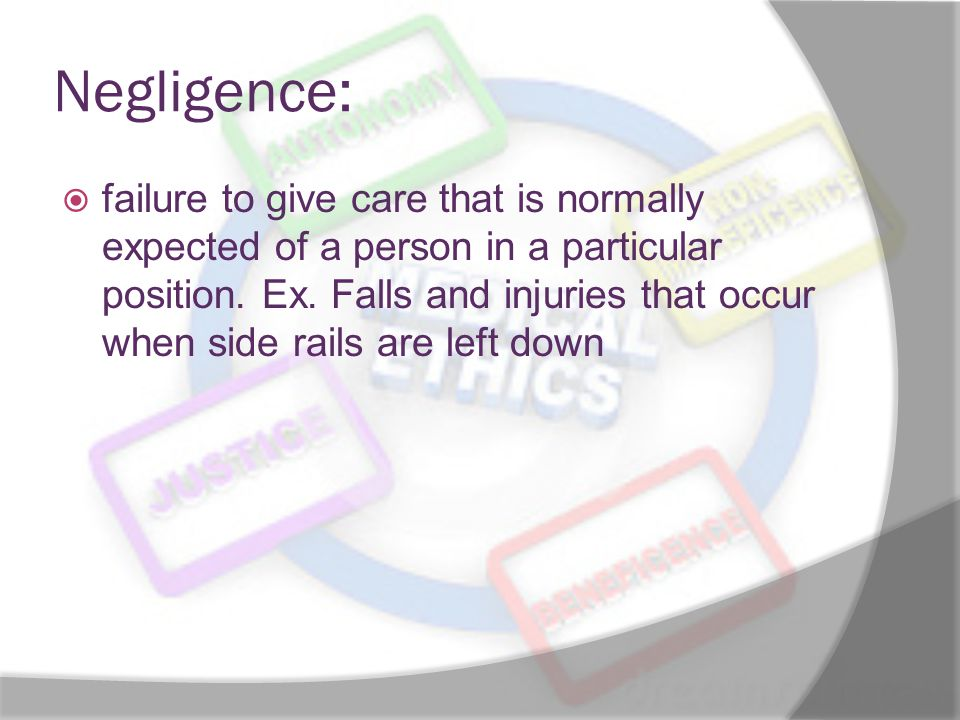Negligence:  failure to give care that is normally expected of a person in a particular position.