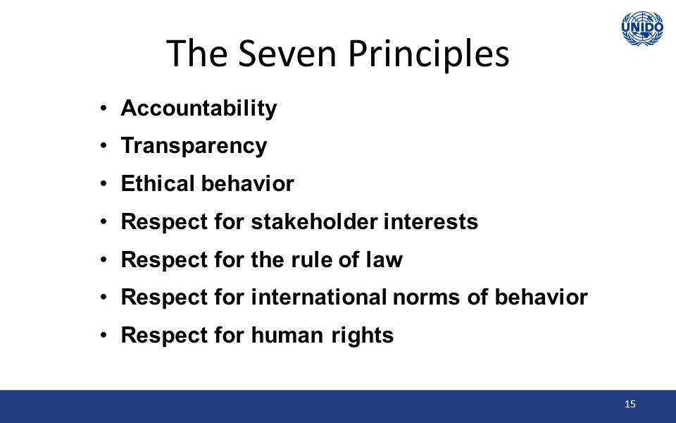 The Seven Principles Accountability Transparency Ethical behavior Respect for stakeholder interests Respect for the rule of law Respect for international norms of behavior Respect for human rights 15