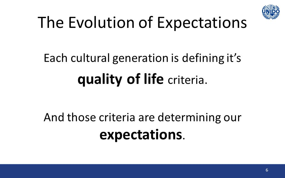 The Evolution of Expectations So each change in the scope of our Quality of Life leads to new expectations.