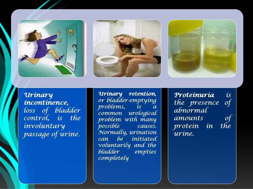 Urinary incontinence, loss of bladder control, is the involuntary passage of urine.