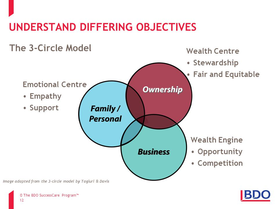 UNDERSTAND DIFFERING OBJECTIVES 12 The 3-Circle Model Image adapted from the 3-circle model by Tagiuri & Davis Emotional Centre Empathy Support Wealth