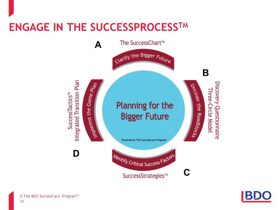 ENGAGE IN THE SUCCESSPROCESS TM 16 A B C D © The BDO SuccessCare Program™