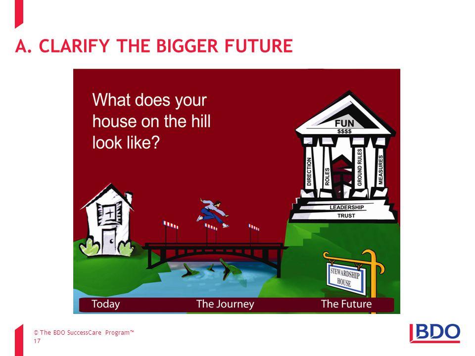 17 A. CLARIFY THE BIGGER FUTURE © The BDO SuccessCare Program™