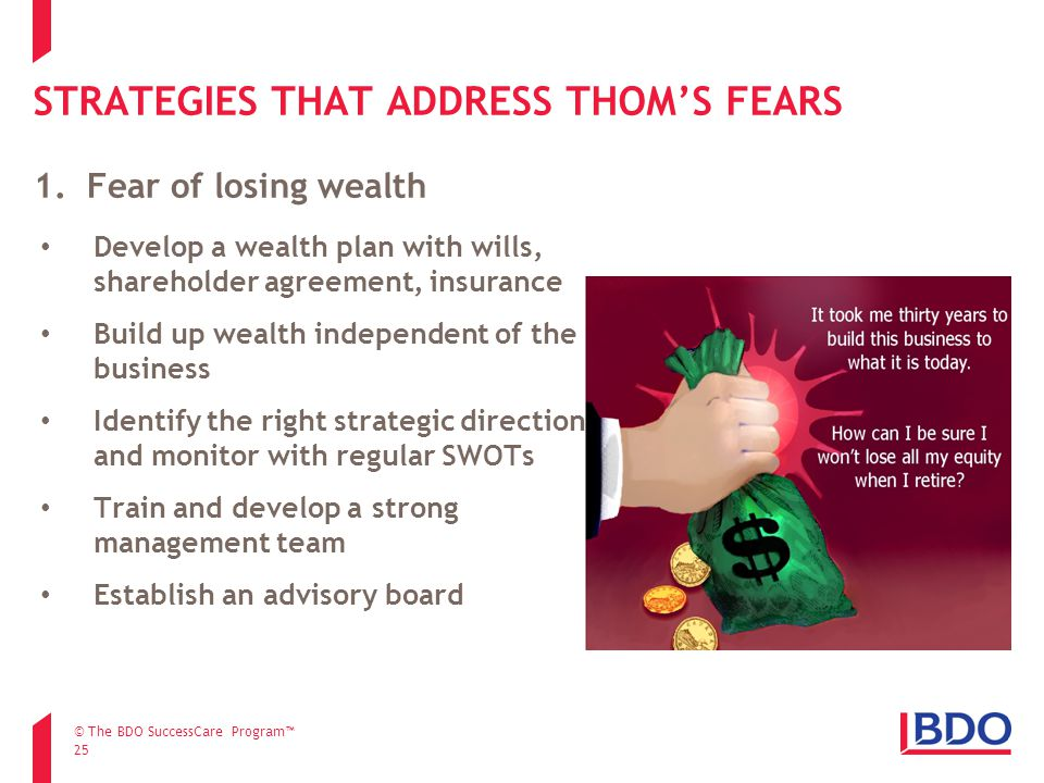 STRATEGIES THAT ADDRESS THOM'S FEARS 25 Develop a wealth plan with wills, shareholder agreement, insurance Build up wealth independent of the business Identify the right strategic direction and monitor with regular SWOTs Train and develop a strong management team Establish an advisory board 1.Fear of losing wealth © The BDO SuccessCare Program™