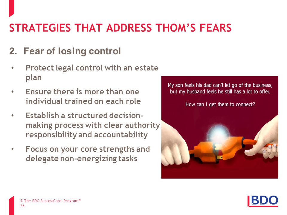 STRATEGIES THAT ADDRESS THOM'S FEARS 26 Protect legal control with an estate plan Ensure there is more than one individual trained on each role Establish a structured decision- making process with clear authority, responsibility and accountability Focus on your core strengths and delegate non-energizing tasks 2.Fear of losing control © The BDO SuccessCare Program™