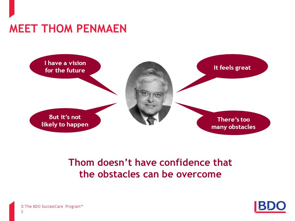 MEET THOM PENMAEN 3 I have a vision for the future It feels great But it's not likely to happen There's too many obstacles Thom doesn't have confidence that the obstacles can be overcome © The BDO SuccessCare Program™
