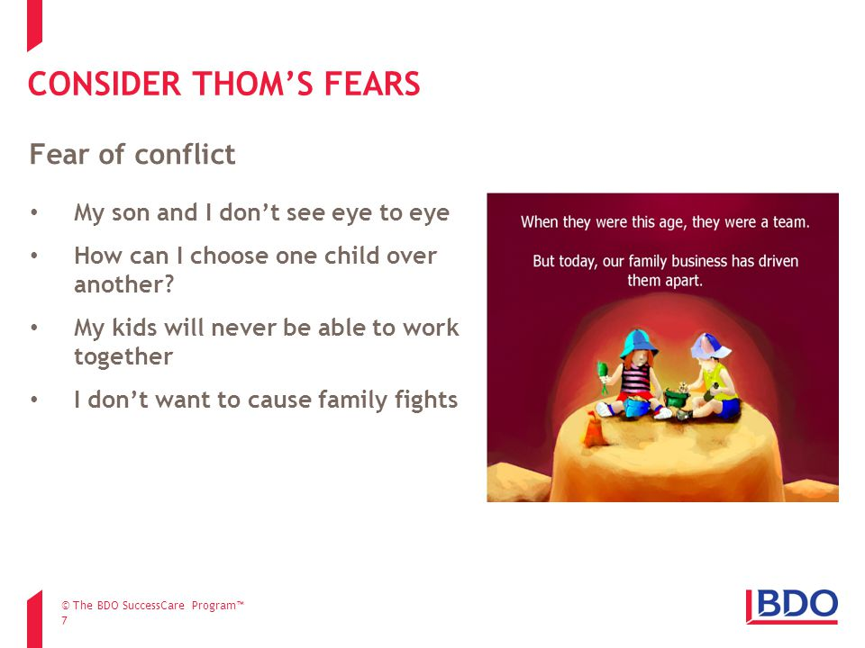 CONSIDER THOM'S FEARS 7 My son and I don't see eye to eye How can I choose one child over another.