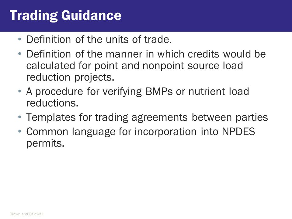 Definition of the units of trade. Definition of the manner in which credits would be calculated for point and nonpoint source load reduction projects.