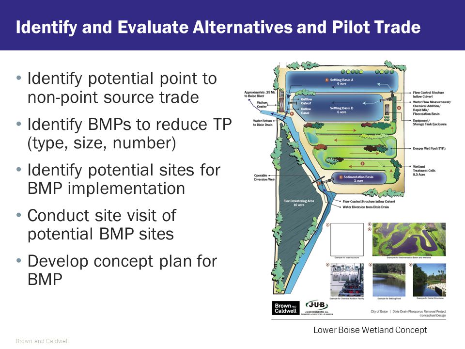 Identify and Evaluate Alternatives and Pilot Trade Identify potential point to non-point source trade Identify BMPs to reduce TP (type, size, number) Identify potential sites for BMP implementation Conduct site visit of potential BMP sites Develop concept plan for BMP Brown and Caldwell Lower Boise Wetland Concept