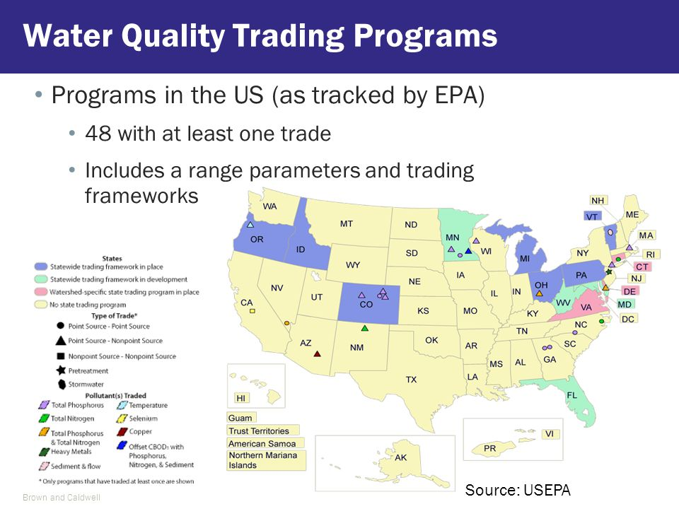 Water Quality Trading Programs Source: USEPA Brown and Caldwell Programs in the US (as tracked by EPA) 48 with at least one trade Includes a range par
