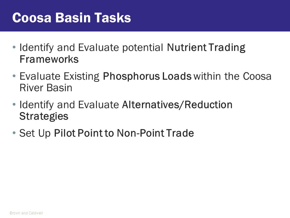 Identify and Evaluate potential Nutrient Trading Frameworks Evaluate Existing Phosphorus Loads within the Coosa River Basin Identify and Evaluate Alternatives/Reduction Strategies Set Up Pilot Point to Non-Point Trade Coosa Basin Tasks Brown and Caldwell