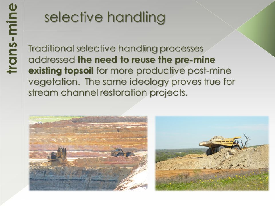 trans-mine selective handling Traditional selective handling processes addressed the need to reuse the pre-mine existing topsoil for more productive post-mine vegetation.