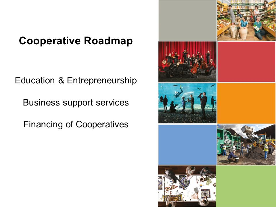 Cooperative Roadmap Education & Entrepreneurship Business support services Financing of Cooperatives