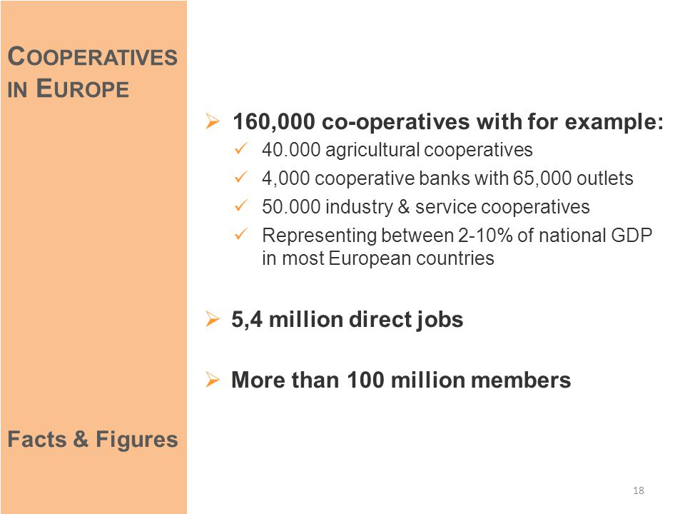  160,000 co-operatives with for example: 40.000 agricultural cooperatives 4,000 cooperative banks with 65,000 outlets 50.000 industry & service cooperatives Representing between 2-10% of national GDP in most European countries  5,4 million direct jobs  More than 100 million members 18 C OOPERATIVES IN E UROPE Facts & Figures