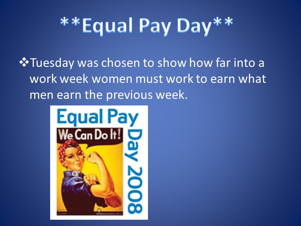  Tuesday was chosen to show how far into a work week women must work to earn what men earn the previous week.