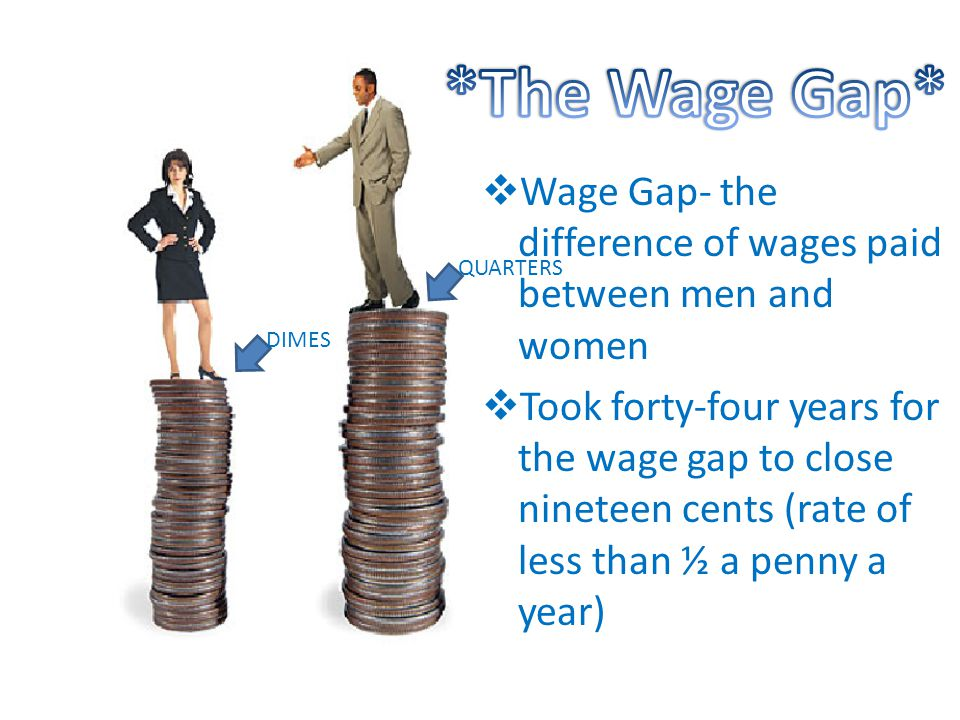  Wage Gap- the difference of wages paid between men and women  Took forty-four years for the wage gap to close nineteen cents (rate of less than ½ a penny a year) DIMES QUARTERS