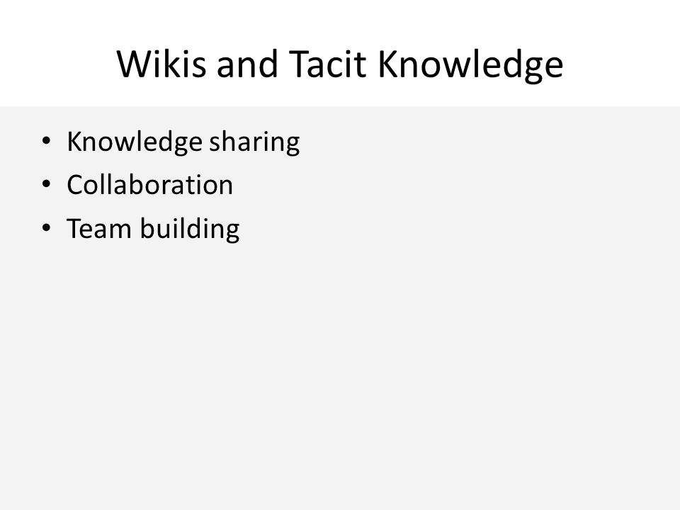 Wikis and Tacit Knowledge Knowledge sharing Collaboration Team building
