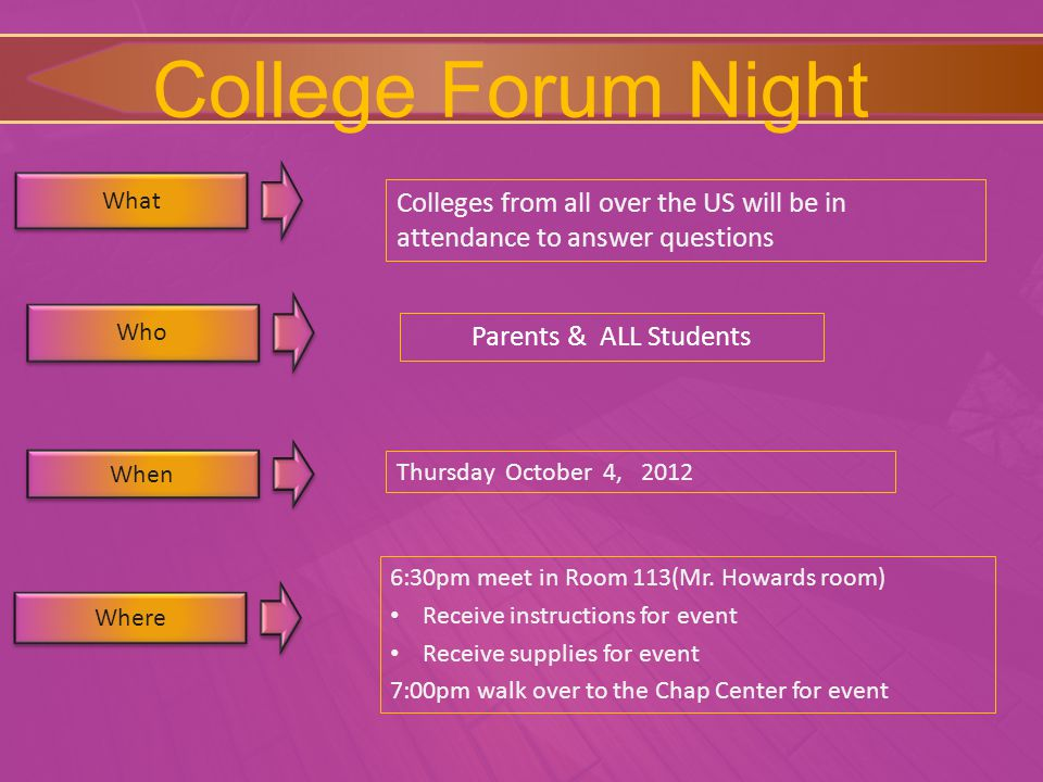 College Forum Night What Where Colleges from all over the US will be in attendance to answer questions 6:30pm meet in Room 113(Mr.