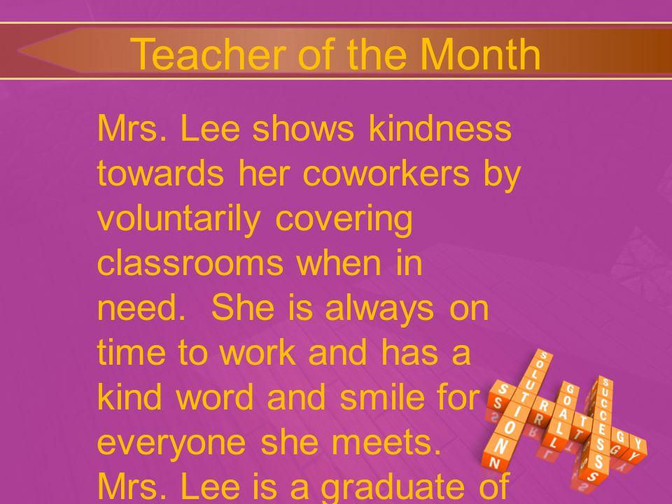 Teacher of the Month Mrs.