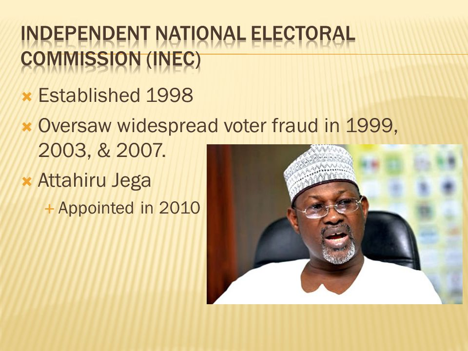  Established 1998  Oversaw widespread voter fraud in 1999, 2003, & 2007.