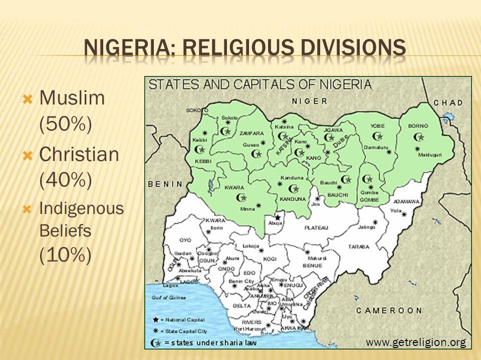  Muslim (50%)  Christian (40%)  Indigenous Beliefs (10%) www.getreligion.org