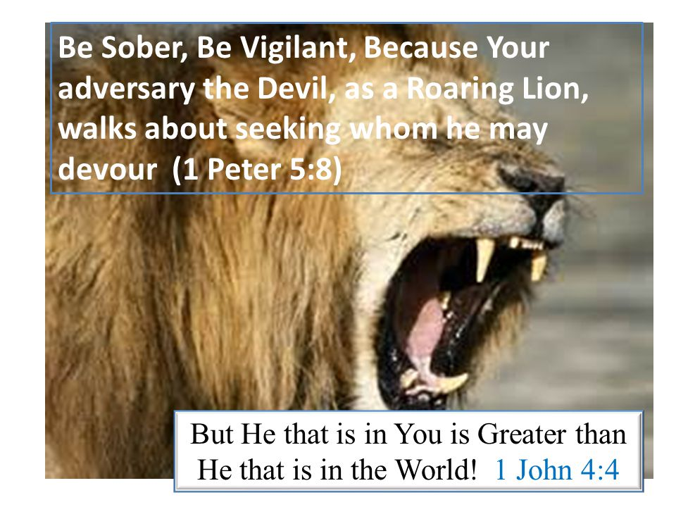 Be Sober, Be Vigilant, Because Your adversary the Devil, as a Roaring Lion, walks about seeking whom he may devour (1 Peter 5:8) But He that is in You