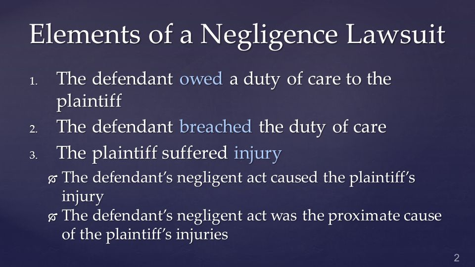 Defenses Against Negligence 1.
